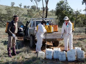 Volunteer weed sprayers prepare for a working bee at Nardoo Hills in Victoria. Photo Craig Allen.
