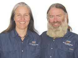 Matt Warnock and Elizabeth Lescheid are pictured wearing shirts from Gondwana, a Bush Heritage partner.
