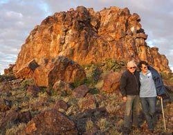 David and Simone Bowskill in front of Dome Rock on Boolcoomatta Reserve last year. Photo Bec Passlow.