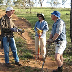 John Furmston, Meredith and Ron McInnes volunteering at Nardoo Hills in Victoria.