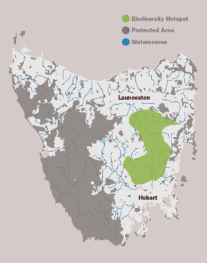 Map of the Tasmanian Midlands.