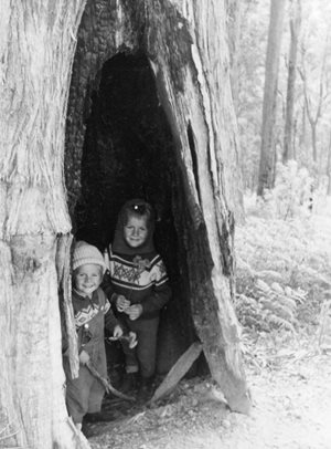 Annette Dean and her brother find shelter in a tree in the Liffey Valley.
