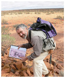 Dr Gavin Young rediscovers the fossil sites. Photo courtesy Museum Victoria.
