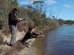 Ecologist Angela Sanders with Paula Deegan doing water quality monitoring in the Fitz-Stirling region.