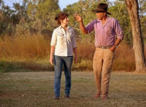Bush Heritage ecologist Allana Brown with Olkola Elder Mike Ross. Photo by Brian Cassey.