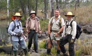 Paul Hales (Yourka Reserve Manager) with volunteer Siam weeders Nicky (left), Finney (right) and Cliff.